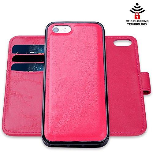 SHANSHUI iPhone7 plusケース 手帳型 分離式 ローズレッド
