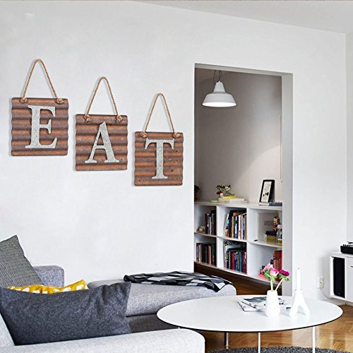Xing Cheng Wall Metal Plaque Sign Eat Letter Sign Wavy Metal Plate for Kitchen 5