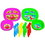 Colorful Fun BPA Free Munchkin Baby Toddler Plastic Plate Bowl Spoon Set For Kids With Robot Dinosaur Owl Whale...