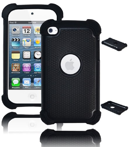Bastex Heavy Duty Hybrid Armor Case For Apple Ipod Touch 4, 4Th Generation - Black On Black Silicone front-360139