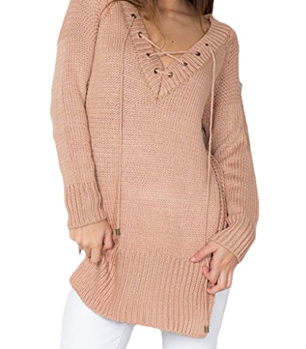 Sexy Womens Knitted Casual Loose Fit Side Split Top Sweater Khaki