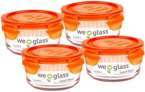 Wean Green Lunch Bowl 13oz/400ml Food Glass Containers - Carrot (Set of 4)