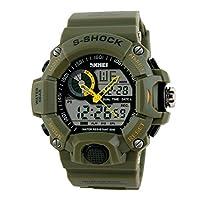 Ukamshop(TM)New Mens LED Digital Date Alarm Waterproof Rubber Sports Analog Watch Wristwatch Army Green