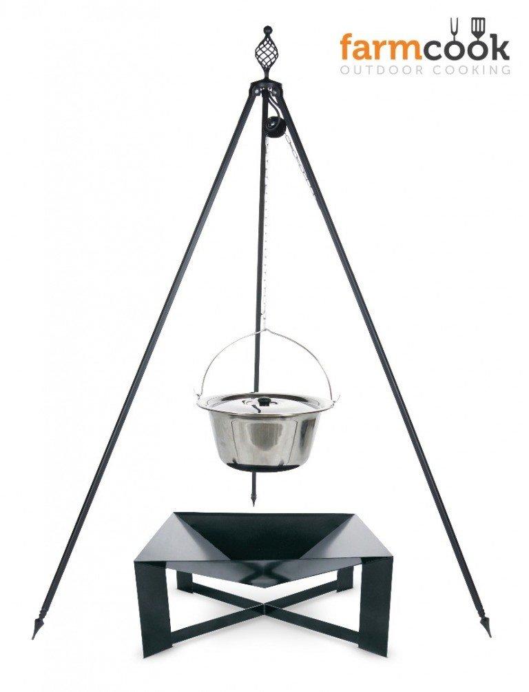Dreibein Grill OSKAR Höhe 210cm + Topf 14 Liter aus Edelstahl + Feuershale Pan34 kaufen
