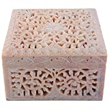 Curio Shop Handmade Stoneware Box - (L X B X H-12.5Cms X12.5Cms X8Cms , Beige/Natural ) - B00YSK1B3S