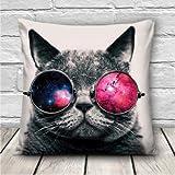 Creative 3D Galaxy Space Cats Throw Pillows Case Home Sofa Office Car Cushion Cover Gift
