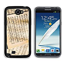 buy Msd Samsung Galaxy Note 2 Aluminum Plate Bumper Snap Case Sheet Music Vintage Close Up Image 22828707