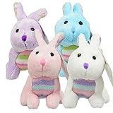 Easter Rabbits Set of 4 Plush 6.5 White, Pink, Blue, Purple Bunnies Super Soft