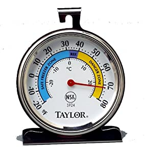 Taylor 5924 Food Service Classic Series Freezer-Refrigerator Thermometer, Large Dial