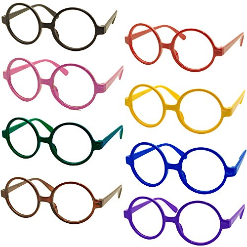 Set of 8 FancyG® Retro Geek Nerd Style Round Shape Glass Frame NO LENSES