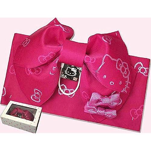HELLO KITTY/헬로 키티 아이Jr만들기대 로즈 핑크/리본 부착 (어린)아이 유카타 유카타를 입는 방법과 오비를 매는 방법P-2 유카타대