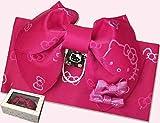 HELLO KITTY/ハローキティ子供Jr作り帯 ローズピンク/リボン付きこども浴衣 結び帯P-2 浴衣帯