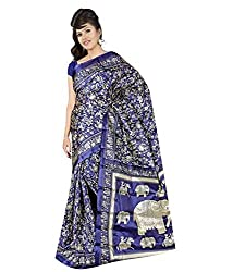 GoGalaxy Fashion Woman's unstiched party wear collection Blue Bhagalpuri Silk Printed Free Size Full Saree at Low Price