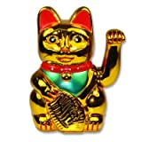 Maneki neko Lucky fortune Cat Waving Arm Gold