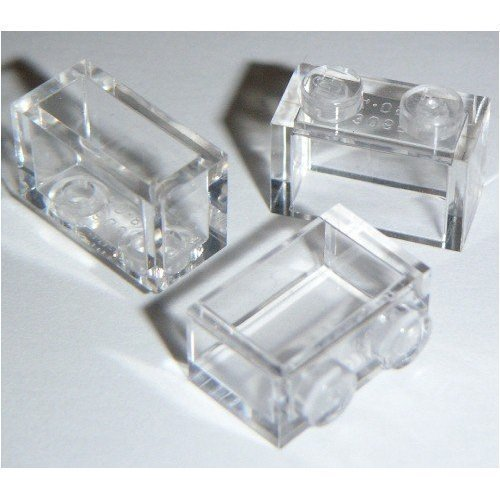 Lego Building Accessories 1 x 2 Clear Transparent Brick without Pin, Bulk - 50 Pieces per Package