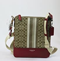 Hot Sale Coach Legacy Signature Stripe Khaki Black Cherry Silver Swingpack