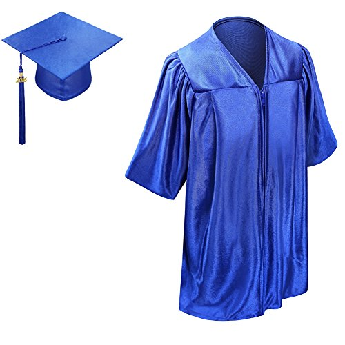 LesCapsGown Kids Graduation Gown Cap Tassel 2016-Neck Piping(Royal Blue 21) (Graduation Cap And Gown For Kids compare prices)