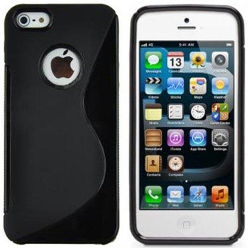 xubix iPhone 5 5G 5S Hülle Zubehör - S Shape TPU Skin Silikon Tasche Case Schutzhülle in Transparent perfekter Grip - Schwarz