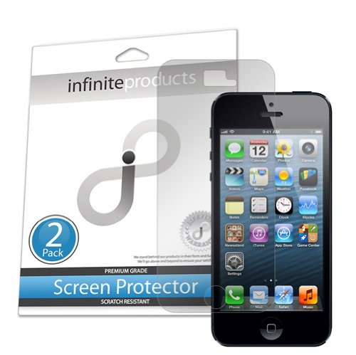 Infinite Products Anti-Microbial Screen Protector Film For Iphone 5 At&T Verizon Sprint - (2 Pack) Anti-Microbial Newest Model