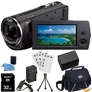 Sony HDR-CX230/B HDRCX230 CX230 CX230 B High Definition Handycam Camcorder with 2.7-Inch LCD (Black) Ultimate Bundle with 32GB SD Card, High Capacity Spare Battery, Rapid AC/DC Charger, Deluxe Carrying Case, Table Tripod, LCD Screen Protectors, and More