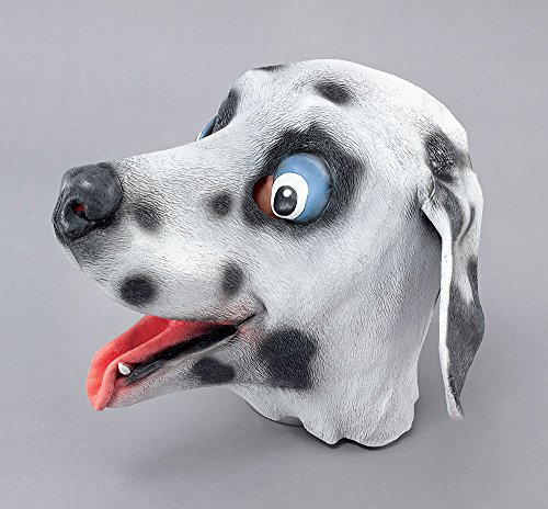 White/Black Dalmation Rubber Overhead Mask Rubber Masks Men's One Size