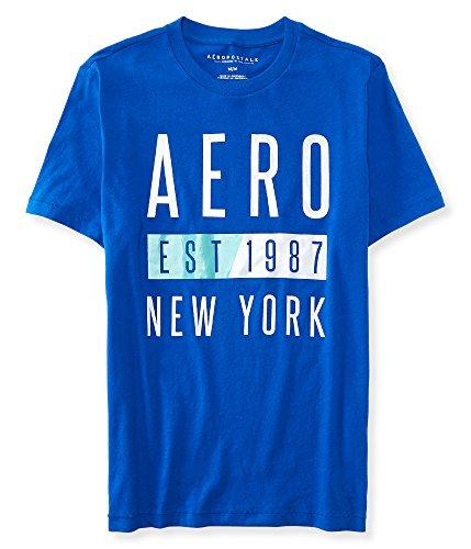 Aeropostale Men's Aero Est 1987 Logo Graphic T Shirt L Ultramarine