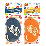 JELLY BELLY TWIN PACK 2D BEAN SWEETS SCENT CAR AIR FRESHENER - BLUEBERRY + TANGERINE