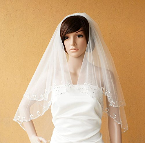 Two Tiers Fingertip Tulle Bridal Wedding Veil with Beaded Edge with Comb-v34-Ivory