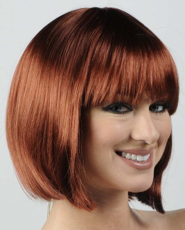 Short Dark Red Straight Bob Cut Halloween Costume Wig Adult
