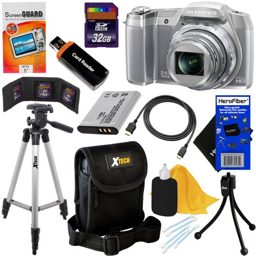 Olympus Stylus Sz-16 Ihs Digital Camera With 24X Optical Zoom, Full Hd Video And 3-Inch Lcd (Silver) + Li-50B Battery + 10Pc Bundle 32Gb Deluxe Accessory Kit W/ Herofiber® Ultra Gentle Cleaning Cloth