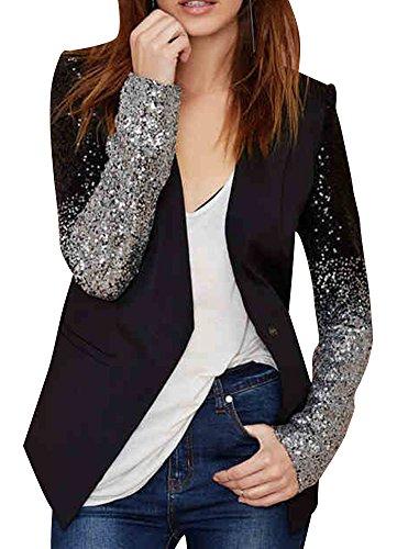 Smss Women'S Slim Fit Sequin Sleeve Button Leather Collar Blazer Jacket