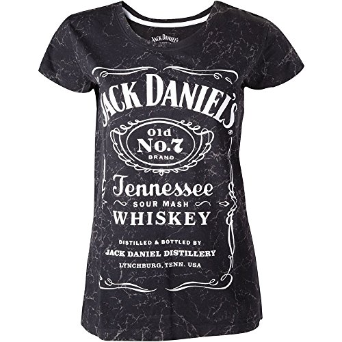 Jack Daniel's Marble Logo Maglia donna nero, Nero, Small (taglia Produttore: Small)