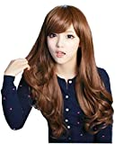 "25"" Long Curly Wave Synthetic Hair Oblique Bang Cosplay Party Wig"