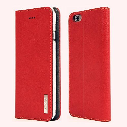"Cover iphone 6, Veetop® custodia iphone 6/ iphone 6s, custodia portafoglio iphone 6/ iphone 6s ( 4.7"") con chisura magnetica, realizzata in pelle di alta qualità, Design Elegante (Rosso), 24 mesi di Garanzia!"