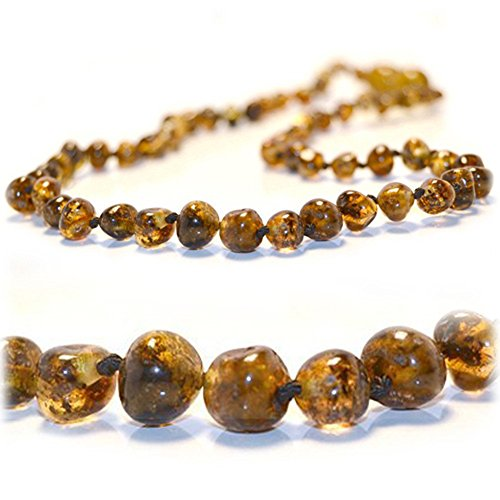 The Art of Cure Certified Baltic Amber Teething Necklace for Baby (green) - Anti-inflammatory
