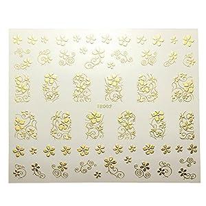 1PCS 3D Sticker Ongle Manucure Argent Or Fleur Nail Art Conseils Autocollant 12 Style