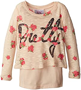 Beautees Little Girls' 2 Piece Textured Knit Over Tank Pretty, Taupe, 5