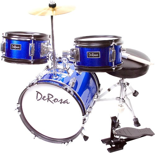 De Rosa DRM312-BU Children's 3 Piece 12 Inch Drum Set with Chair, Blue