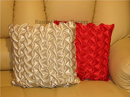 Rasmy Home Decors White & Red smocked decorative luxury handmade throw pillow cushion cover 40 cm x 40 cm (16