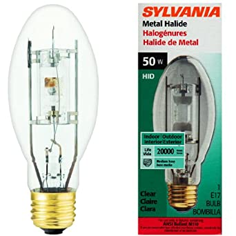 50 Watt Metal Halide Clear E17 Bulb Indoor / Outdoor 20000 Hour Life HID MP50/U/MED/RP