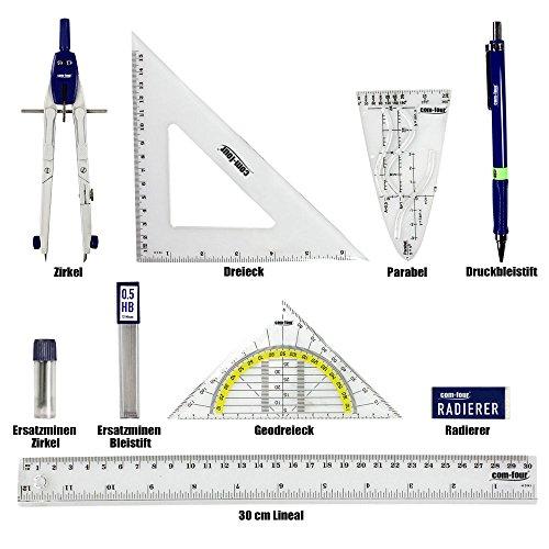 COM-FOUR® Zirkeletui Geometrie Set Zirkel Schulzubehör (9-teiliges Set)