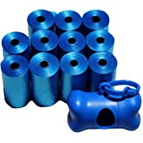 220 Poop Bag Shop (TM) Dog Waste Bags, Pet Waste Bags, Durable Premium Bulk Refill Rolls , Blue/Black Color + FREE DISPENSER