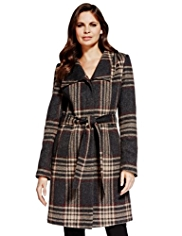 Per Una Checked Belted Coat with Wool