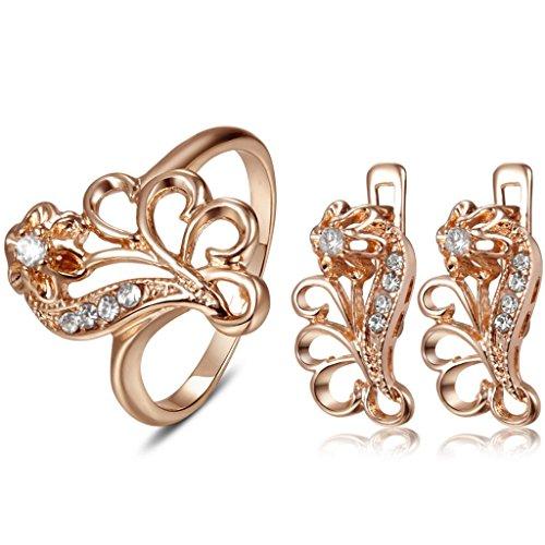 Fallon 18K Rose Gold Plated Suit Crown Flower Earring + 8 Ring 8123639