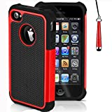 Mobile-Heaven Apple iPhone 4 4S Premium Red Shock Proof Case Cover Includes Screen Protector, Cleaning Cloth And Stylus Pen