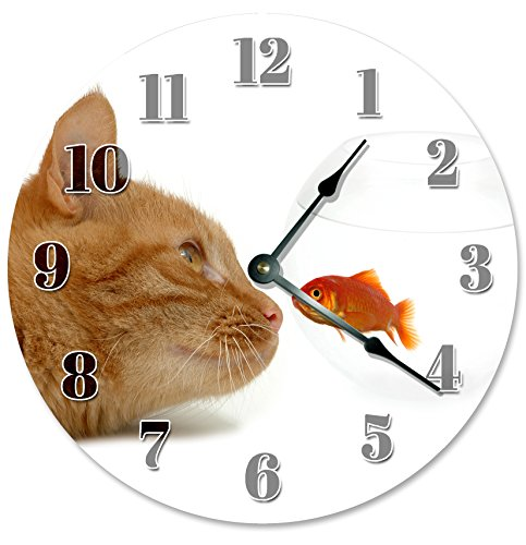 GOLDFISH FISH BOWL AND ORANGE CAT CLOCK Decorative Round Wall Clock Home Decor Large 10.5