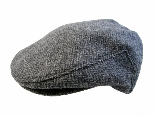 John Hanly & Co. Irish Tweed Flat Cap - Grey Herringbone - Large