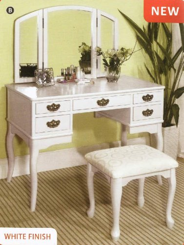 White Vanity With Mirror front-39799