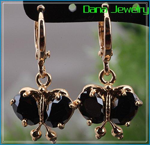 Chokushop 18K Yellow gold plated Black Onyx bowknot shape Earrings Fashion Jewelry E035
