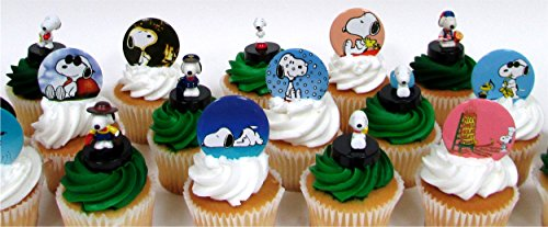Peanuts Charlie Brown SNOOPY 18 Piece CUPCAKE Topper Set Featuring 10 Random Snoopy Figures and 8 Random Buttons, Figures Average 1